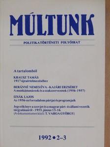 Beránné Nemes Éva - Múltunk 1992/2-3. [antikvár]
