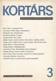 Bécsy Tamás - Kortárs 1976, XX. évf. 3. szám [antikvár]