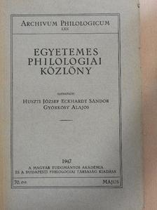 Borzsák István - Egyetemes Philologiai Közlöny 1947. május [antikvár]