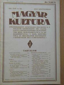 b. - Magyar Kultúra 1925. szeptember [antikvár]