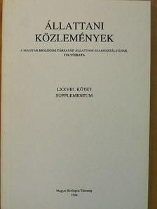 Fülöp Tibor - Állattani Közlemények LXXVIII. Supplementum [antikvár]