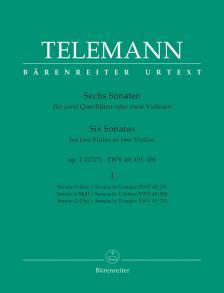 TELEMANN - SECHS SONATEN FÜR ZWEI QUERFLÖTEN ODER ZWEI VIOLINEN OP.2 (1727) I URTEXT (GÜNTER HAUSSWALD)