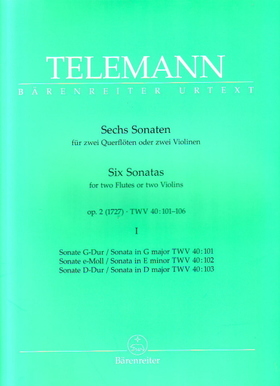 TELEMANN - SECHS SONATEN FÜR ZWEI QUERFLÖTEN ODER ZWEI VIOLINEN OP.2 (1727) II URTEXT