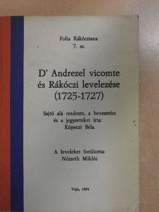 II. Rákóczi Ferenc - D' Andrezel vicomte és Rákóczi levelezése [antikvár]