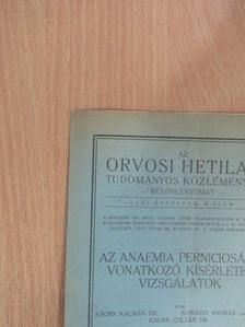 Dr. Knorr Kálmán - Az anaemia perniciosára vonatkozó kísérletes vizsgálatok [antikvár]