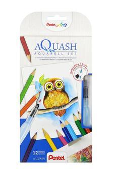 Pentel akvarell színesceruza készletet és víztartályos ecsetet tartalmazó kreatív szett - CB9-12/FRH-SET1