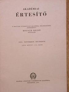 Baló Józsefné - Akadémiai Értesítő LXII. kötet 514. szám [antikvár]