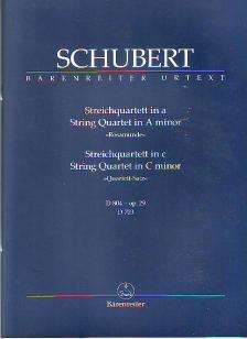 """Franz Schubert - STREICHQUARTETT IN a """"ROSAMUNDE"""" UND c D 804, D 703 STUDIENPARTITUR URTEXT (WERNER ADERHOLD)"""