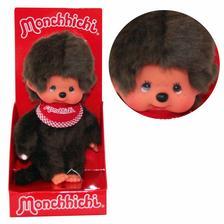Monchhichi - Klasszikus fiú piros előkével 20cm