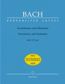 J. S. Bach - INVENTIONEN UND SINFONIEN BWV 772-801 FÜR KLAVIER URTEXT MIT FINGERSAETZEN