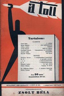 ZSOLT BÉLA - A toll I. évf. 27. sz. (1929. október 20.) [antikvár]
