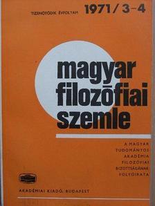 Ágh Attila - Magyar Filozófiai Szemle 1971/3-4 [antikvár]