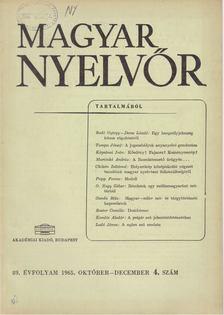 Lőrincze Lajos - Magyar Nyelvőr 89. évf. 1965/4. [antikvár]