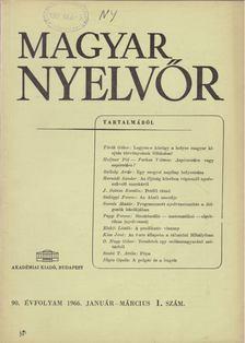 Lőrincze Lajos - Magyar Nyelvőr 90. évf. 1966/1. [antikvár]