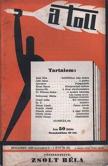 ZSOLT BÉLA - A toll I. évf. 29. sz. (1929. november 3.) [antikvár]