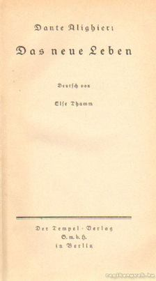 Dante Alighieri - Das neue Leben [antikvár]