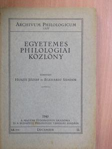 Balogh Károly - Egyetemes Philologiai Közlöny 1940. december [antikvár]