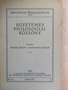Baumgarten Sándor - Egyetemes Philologiai Közlöny 1943. március  [antikvár]