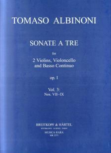 ALBINONI, TOMASO - SONATE A TRE FOR 2 VIOLINS, VIOLONCELLO AND BASSO CONTINUO OP.1 VOL.3: NOS. VII-IX. (MARTIN LUTZ)