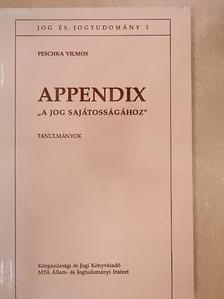 """Peschka Vilmos - Appendix """"A jog sajátosságához"""" [antikvár]"""