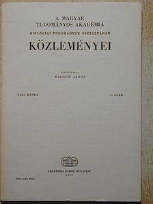 Bérczi Alajos - A Magyar Tudományos Akadémia Biológiai Tudományok Osztályának Közleményei XXII. kötet 1. szám [antikvár]
