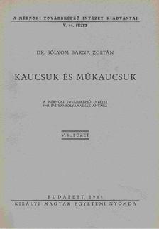 DR. SÓLYOM BARNA ZOLTÁN - Kaucsuk és műkaucsuk [antikvár]