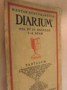 Hóman Bálint - Magyar Könyvbarátok Diariuma 1933. év IV. negyede [antikvár]