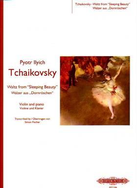 """Tchaikovsky - WALZER AUS """"DORNRÖSCHEN"""" VIOLINE UND KLAVIER (TRANSCR. S. FISCHER) ANTIKVÁR"""