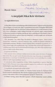 Huszár János - A pápai Jókai Kör emlékkönyve 1893-1993 (dedikált) [antikvár]