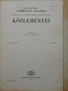 Berényi Dénes - A Magyar Tudományos Akadémia Biológiai Tudományok Osztályának Közleményei XXIII. kötet 3-4. szám [antikvár]