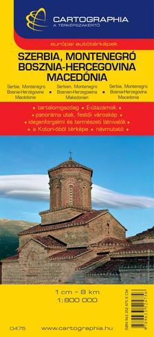 Cartographia Kiadó - SZERBIA, MONTENEGRO, BOSZNIA-HERCEGOVINA, MACEDÓNIA AUTÓTÉRKÉP - CART. -