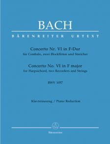 J. S. Bach - CONCERTO NR.VI F-DUR BWV 1057 FÜR CEMB.2 BLFL U.STR. KLAVIERAUSZUG,URTEXT
