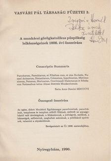 Udvari István - A munkácsi görögkatolikus püspökség lelkészségeinek 1806. évi összeírása (dedikált) [antikvár]