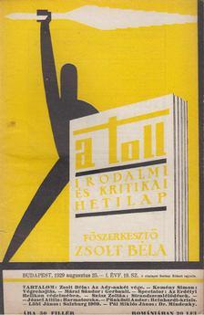 ZSOLT BÉLA - A toll I. évf. 19. sz. (1929. augusztus 25.) [antikvár]