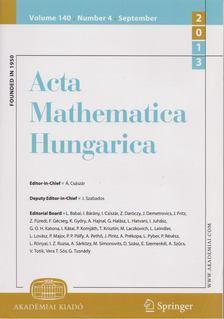 Á. Császár, J. Szabados - Acta Mathematica Hungarica Volume 140. Number 4. September 2013 [antikvár]