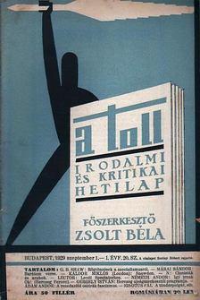 ZSOLT BÉLA - A toll I. évf. 20. sz. (1929. szeptember 1.) [antikvár]