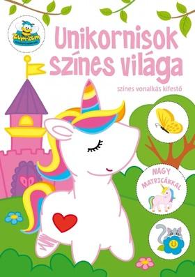 Szalay Könyvkiadó - Unikornisok színes világa - színes vonalkás kifestő nagy matricákkal