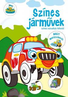Szalay Könyvkiadó - Színes járművek - színes vonalkás kifestő nagy matricákkal