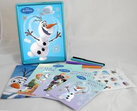 .- - Disney - Jégvarázs - Olaf tökéletes napja (fémdoboz, benne: 3 könyv, 4 filctoll, poszter és matricák)