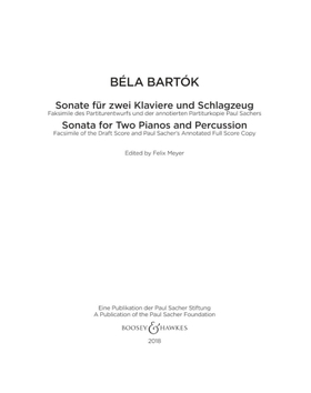 Bartók Béla - SONATE AFÜR ZWEI KLAVIERE UND SCHLAGZEUG FAKSIMILE FULL SCORE