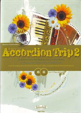 ACCORDION TRIP 2, 30 TAENZE VOM BALKAN FÜR 1-2 AKKORDEONS, INCL. 2 PLAY-ALONG-CDs (HENNER DIEDERICH)