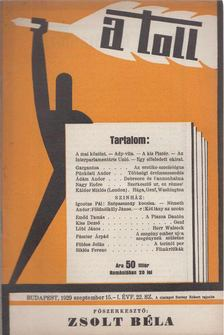 ZSOLT BÉLA - A toll I. évf. 22. sz. (1929. szeptember 15.) [antikvár]