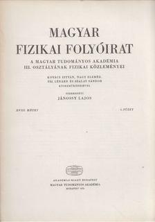 Jánossy Lajos - Magyar fizikai folyóirat XVIII. kötet 6. füzet [antikvár]