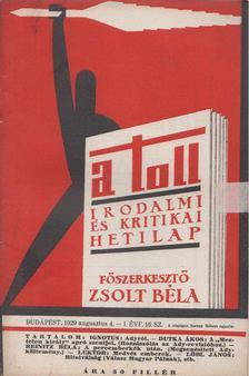 ZSOLT BÉLA - A toll I. évf. 16. sz. (1929. augusztus 4.) [antikvár]