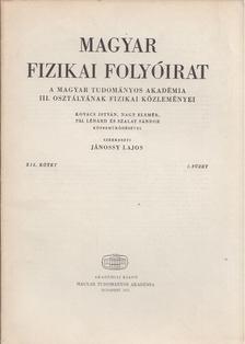 Jánossy Lajos - Magyar fizikai folyóirat XIX. kötet 2. füzet [antikvár]