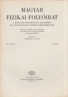 Jánossy Lajos - Magyar fizikai folyóirat XIX. kötet 5. füzet [antikvár]