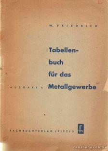 Friedrich, Wilhelm - Tabellenbuch für das Metallegwerbe [antikvár]