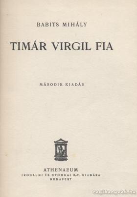 Babits Mihály - Timár Virgil fia [antikvár]