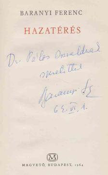 Baranyi Ferenc - Hazatérés (dedikált) [antikvár]