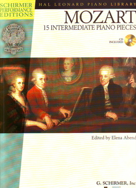 MOZART, W,A, - 15 INTERMEDIATE PIANO PIECES CD INCLUDED, EDITED BY ELENA ABEND